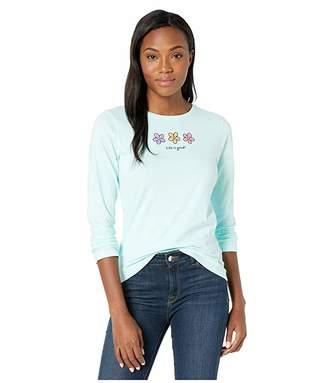 Life is Good Three Daises Long Sleeve Crushertm Tee (Bermuda Blue) Women's T Shirt