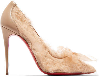 Christian Louboutin Toufrou 100 Bow-embellished Frayed Chiffon Pumps - Neutral