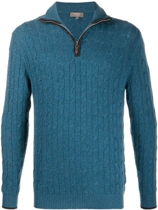 N.Peal Cable Half-Zip Cashmere Jumper