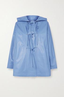 Salvatore Ferragamo Hooded Leather Jacket - Blue