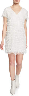 Aidan Mattox Beaded Fringe V-Neck Short-Sleeve Mini Crepe Dress