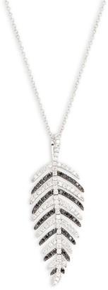 Effy 14K White Gold Two-Tone Diamond Feather Pendant Necklace