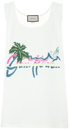 Gucci Hawaii glitter-print cotton tank top