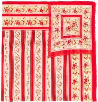 Faliero Sarti Striped Floral Print Scarf