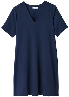 La Redoute Collections Short-Sleeved Swing Dress with V-Neck