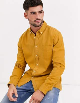 Topman short sleeve shirt with revere collar in mustard-Yellow