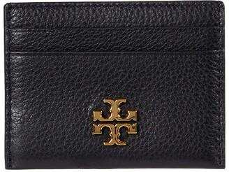 Tory Burch Kira Pebbled Card Case (Black) Handbags