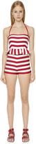 RED Valentino Striped Beach Cotton Halter Jumpsuit