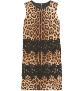 Dolce & Gabbana SILK BLEND SHIFT DRESS WITH ANIMAL PRINT AND LACE