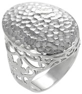 Journee Collection Women's Hammered Ring in Sterling Silver - Oval
