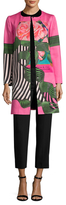 Mary Katrantzou Silk Print Quilted Collarless Coat