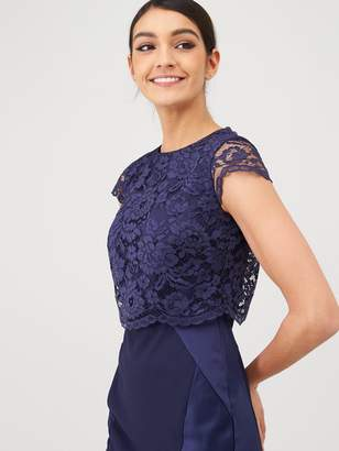 Very Bridesmaid Lace Overlay Maxi Dress - Navy