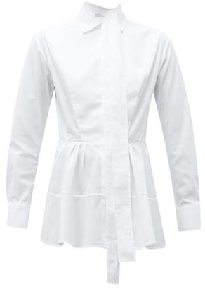 Palmer Harding Palmer//Harding Palmer//harding - April Tie Neck Pleated Cotton Blend Shirt - Womens - White