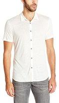 John Varvatos Collection Men's Short Sleeve Button Front Polo Shirt