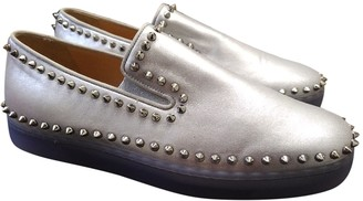 Christian Louboutin Roller Boat Silver Leather Trainers