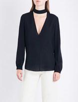 A.L.C. Liza choker-detail silk-crepe top