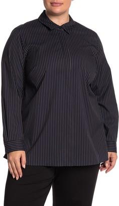 Lafayette 148 New York Brayden Stripe Shirt (Plus Size)