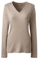 Lands' End Women's Plus Size Shaped Cotton V-neck T-shirt-White