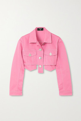 Balmain Cropped Denim Jacket - Pink
