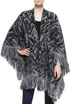 Nude Chevron Wool Shawl W/ Fringe