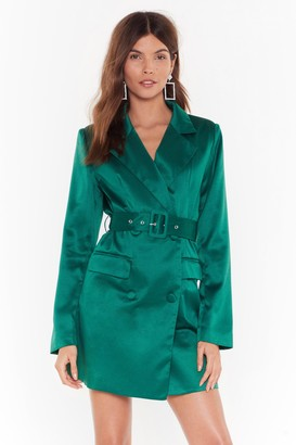Nasty Gal Womens Taking Care of Business Satin Blazer Dress - Green - 10