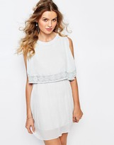 Darccy Cold Shoulder Boho Mini Dress with Lace Trim