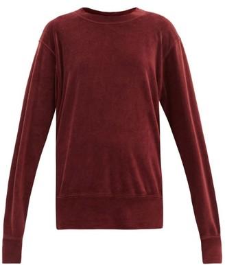 LES TIEN Round-neck Cotton-blend Velour Sweatshirt - Burgundy