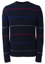 Classic Men's Cotton Blend Shaker Roll Neck Sweater - Stripe-Dark Bay Blue