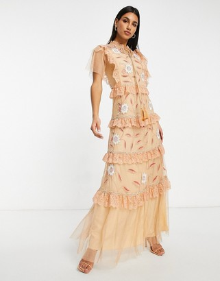 Frock and Frill short sleeve frill tiered maxi dress in peach