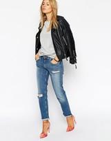 Asos Kimmi Shrunken Boyfriend Jeans in Mia Mid Wash With Rips