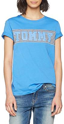 Tommy Hilfiger Women's CIRA Tommy Logo Tee T-Shirt, Blue (Regatta/Gingham PRT 901), 12 (Size: Medium)