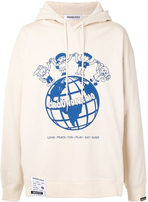 Ground Zero World Print Hoodie