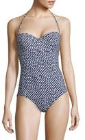 Tory Burch One-Piece Nautical Dot Bandeau Swimsuit