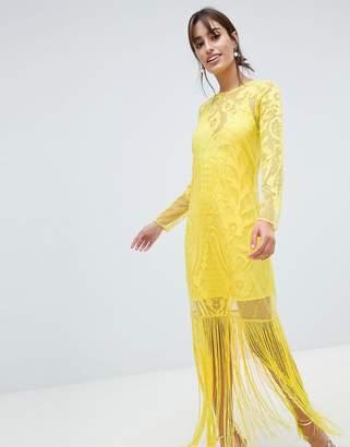 Asos DESIGN Embroidered Long Sleeve Fringe Maxi Dress