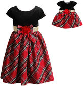 DOLLIE AND ME Red Plaid Dress With Red Velvet Bodice