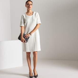 Anne Weyburn Round-Neck Shift Dress with 3/4 Length Sleeves