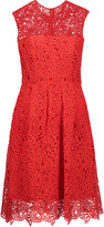 Lela Rose Pleated embroidered cotton-blend lace dress