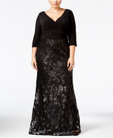 Adrianna Papell Plus Size Sequined Lace Gown