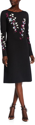 St. John Placed Floral Jacquard Bateau-Neck Long-Sleeve A-Line Dress
