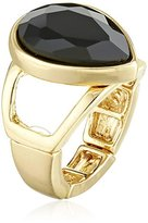"T Tahari Mixed Up"" Gold and Jet Stretch Adjustable Ring, Size 7-9"