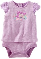"Osh Kosh Baby Girl Early Bird"" Graphic Mock-Layer Bodysuit"