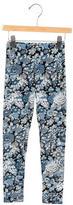 Oscar de la Renta Girls' Jersey Knit Floral Print Leggings