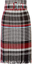 Oscar de la Renta Belted Fringed Checked Cotton-blend Tweed Skirt - Black
