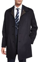 Ermenegildo Zegna Reversible Button-Down Car Coat, Navy/Brown