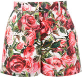 Dolce & Gabbana rose print shorts - women - Cotton - 38