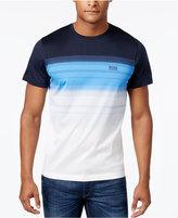 HUGO BOSS Green Men's Colorblocked Striped Cotton T-Shirt