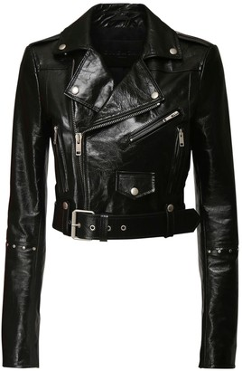 Givenchy Patent Leather Crop Biker Jacket