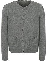 George Girls School Scallop Bow Pocket Cardigan - Grey