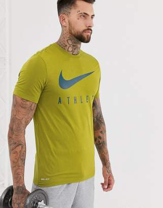 Nike Training Dry athlete t-shirt in khaki-Green