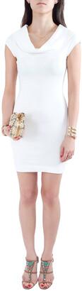 L'Agence White Cotton Blend Draped Shawl Neck Bodycon Dress XS